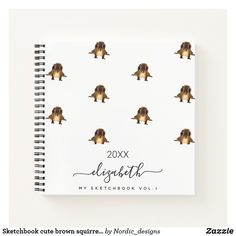 Sketchbook cute brown squirrel animal monogram notebook Monogram Notebook, Cute Squirrel, Notebook Covers, Nordic Design, White Patterns, Page Design, Notebooks, Planners, Unique Gifts
