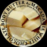 White chocolate macadamia body butter with shea butter - silky, smells like white chocolate. Chemical free.