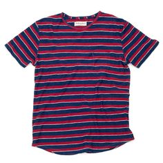 Red White and Indigo Stripe Men's Pocket Tee | The West is Dead