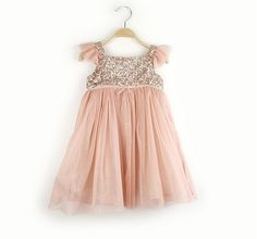 Peach and Gold Sparkle Party Dress