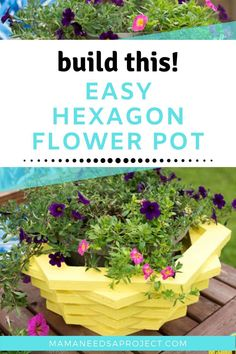 Stacked Hexagon Wood Flower Pot woodworking tutorial will take you through steps to build hexagons and turn them into a beautiful wooden planter Diy Wooden Planters, Wooden Diy, Planter Ideas, Outdoor Wood Projects, Diy Projects, Outdoor Furniture, Outdoor Decor, Plastic Flower Pots, Wooden Flowers