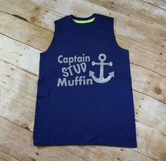 Captain Stud Muffin Anchor Boys Muscle Shirt Tee Nautical Children Clothing