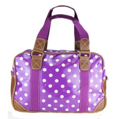 Miss Lulu - Holdall/Travel Bag/Handbag/Shoulder Bag - Polka Dot Print Purple