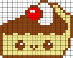 Kawaii Pie perler bead pattern - Sprite - Ideas of Sprite Pearler Bead Patterns, Peyote Stitch Patterns, Kandi Patterns, Perler Patterns, Beading Patterns, Beaded Cross Stitch, Cross Stitch Embroidery, Pixel Art Kawaii, Kawaii Cross Stitch