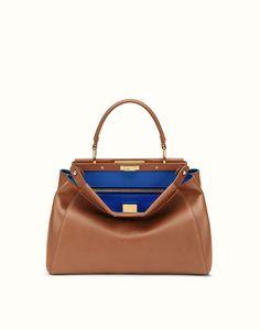 FENDI | REGULAR PEEKABOO handbag in brown leather