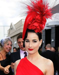 "The fabulous Dita von Teese at the Melbourne Cup Day 2011. Her look was ""scandalous"" at the traditionally black and white themed event."
