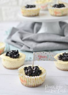 This low-carb Mini Keto Blueberry Cheesecake is filled with amazing flavor and is incredibly easy to whip up, will satisfy your sweet tooth and leave you feeling satisfied! Get the recipe! Low Carb Cheesecake, Blueberry Cheesecake, Cheesecake Recipes, Vegan Blueberry, Cheesecake Bites, Blueberry Recipes, Mini Cheesecakes, Low Carb Desserts, Low Carb Recipes