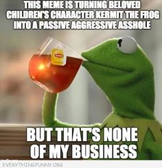 funny kermit meme turning beloved character into passive aggressive asshole but that's none of my business