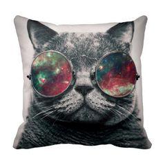 cat wearing sunglasses throw pillows #pillows #homedecor