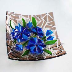 fused glass bird bath bowls | Art glazen schaal KORENBLOEM fusing