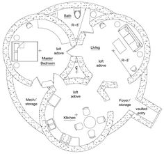 Triple Dome Survival Shelter - floor plan. I have absolutely no place to build this, but it's cool to study.