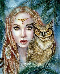 Archival quality art print fantasy mermaid fairy art by Janna Prosvirina Fantasy Drawings, Fantasy Art, Wood Nymphs, Mermaid Fairy, Elves And Fairies, Sacred Feminine, Animal Posters, Watercolor Artwork, Fairy Art