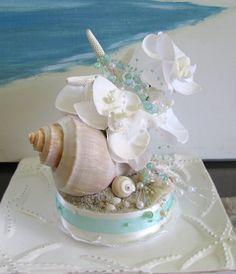 White Orchid Whelk Seashell Wedding Cake Topper Pearls Aqua Bubbles Beach