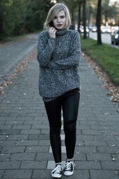 Red Reiding Hood 'Comfy on Converse'  www.redreidinghood.com    #oversized #big #huge #melange #grey #turtleneck #sweater #lindex #dragon #tattoo #H #leggings #pants #leather #panel #biker #converse #allstars #comfy #comfortable #outfit #wearing #ootd #girl #blonde #blond #full #lips #blog #blogger