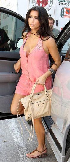Kim Kardashian in Pink Romper and Leonard Sandals!