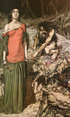 The wooing of Grimhilde, the mother of Hagen, from Siegfried and The Twilight of the Gods, 1910 - Arthur Rackham -21