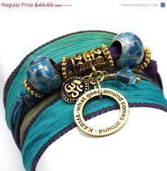 ON SALE Carnival Silk Wrap Bracelet with Karma by anjalicreations, $38.25