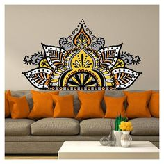 Simple Wall Paintings, Wall Painting Decor, Dot Art Painting, Mandala Painting, Dibujos Zentangle Art, Wal Art, Yoga Studio Decor, Mandala Art Lesson, Wall Drawing