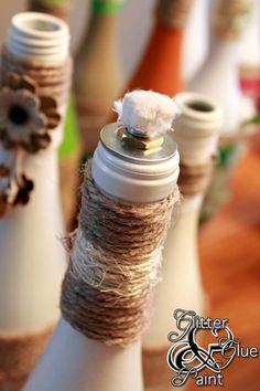 Tiki wine bottle DIY! Using citronella oil to help keep flying pests away...and so pretty, too!