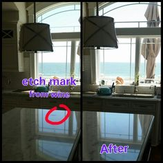 Etch not a stain on marble removed by diamond honing and polishing in Long Beach Island NJ.