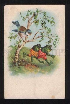 056608 Dressed FROGS w/ Huge BIRD Vintage PC