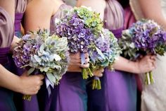 Lavender opal classic hydrangea, blue thistle, dusty miller and seeded euc. Design by Holly Chapple. If I went with the Gray dresses Hydrangea Bouquet Wedding, Spring Wedding Bouquets, Blue Wedding Flowers, Bride Bouquets, Bridal Flowers, Bridesmaid Bouquet, Floral Wedding, Wedding Colors, Bridesmaids