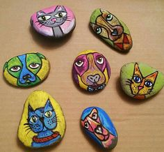 Cat & dog painted rocks