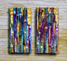 Abstract canvas, original mixed media painting diptych – Octopus Garden, glass, tree branch, small canvas, iridiscent, wall art, rhinestone