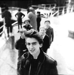1961. George Harrison photographed by friend Jürgen Vollmer at the Rabenstraße Stop in Hamburg during their first Hamburg tour with performances at The Top Ten Club. Photo: Jürgen Vollmer. #TheBeatles #1961 #GeorgeHarrison