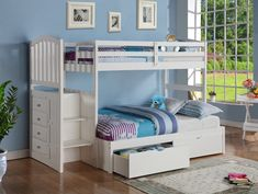 BUNK BED KINGDOM - Twin over Full Reversible Stairway Bunk Bed (White)…