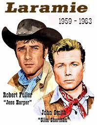 Laramie : A Western tv series to starred John Smith as Slim Sherman, Robert Fuller as Jess Harper, Hoagy Carmichael as Jonesy and Robert L. Crawford, Jr as Andy Sherman. I was madly in love with Jess Harper( Rober Fuller) Great Tv Shows, Old Tv Shows, Movies And Tv Shows, Laramie Tv Series, Mejores Series Tv, Robert Fuller, Radios, Vintage Television, Tv Westerns
