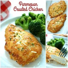 This Parmesan Crusted Chicken is an easy meal idea. We use pounded thin chicken breasts, coat in a delicious Parmesan coating, and then fried to make them New Chicken Recipes, Easy Chicken Pot Pie, Chicken Parmesan Recipes, Baked Chicken, Potato Chip Chicken, Poulet Keto, Sauce Marinara, Parmesan Crusted Chicken, Cooking Recipes