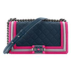 navy blue, fuchsia gray Chanel ❤ liked on Polyvore featuring bags, handbags, fuchsia handbags, flap bag, handbags purses, gray handbags and man bag
