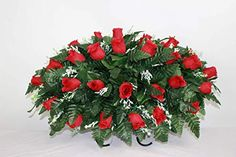 XL Red Roses Artificial Silk Flower Cemetery Tombstone Grave Saddle Crazyboutdeco Cemetery Flowers