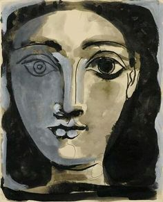 Pablo Picasso - Portrait of a Woman, 1945 gouache, ink, and wash on paper, 21 x 27 cm. Kunst Picasso, Art Picasso, Picasso Paintings, Pablo Picasso Young, Georges Braque, Inspiration Art, Art Moderne, Famous Artists, Face Art