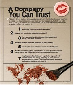 A Company You CAN Trust http://www.marykay.com/dallen1278 #company #trust #believe #values #morals #mission #global #confidence #opportunity #skincare #makeup #fragrance #independent #consultants #worldwide #enriching #women #lives #charitable #leader #fashion #beauty #team #artists #marykay #mymarykaylife #amazing #wow