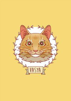 Caricatura de gato. Ilustración personalizada de por GoatLucky