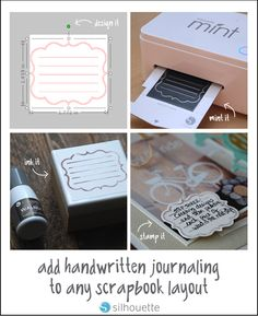 Hello everyone! Today I'm sharing with you an easy way to add journaling… Scrapbook Journal, Scrapbook Layouts, Scrapbooking, Silhouette Mint, Silhouette Machine, Printable Letters, Silhouette Portrait, Monogram Design, Echo Park