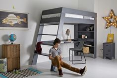loft beds for kids with desk - home office furniture collections Loft Bed Desk, Bunk Bed With Desk, Loft Beds, Bed With Desk Underneath, Casa Kids, Girls Bedroom Furniture, Home Office Desks, Kid Beds, Bedroom Decor
