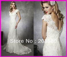 2013 Cap Sleeve Beaded Lace Mermaid Wedding Dresses Bridal Gowns Court Train Buttons W1257 on AliExpress.com. 15% off $188.70