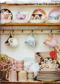Vintage tea sets and fine china. I have sooo many tea sets I need to display them this way! Vintage Chic, Shabby Vintage, Vintage Party, Vintage Dishes, Vintage Teacups, Vintage Plates, Vintage Kitchen, My Cup Of Tea, Shabby Chic Style