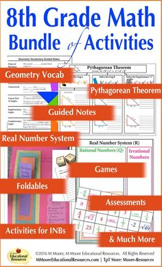 Grade Math - Bundle - Activities for Interactive Notebooks & First Day School, Middle School, High School, School Resources, Teacher Resources, 9th Grade Math, Real Number System, Geometry Vocabulary, Homeschool Supplies