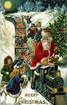 Old postcard. Vintage Christmas train with toys! Christmas Train, Old Christmas, Old Fashioned Christmas, Christmas Scenes, Victorian Christmas, Retro Christmas, Christmas Greetings, Father Christmas, Christmas Postcards