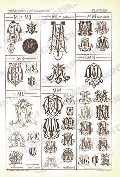 MN   Monograms MI/MJ through MN  page scan from by VintageMonogram, $5.00