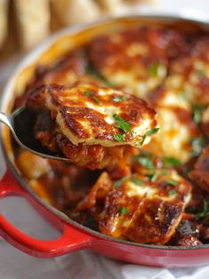 Grilled Halloumi Cheese Bake - Crunchy, Delicious AND Healthy! - - This Grilled Halloumi Cheese Bake is a quick and healthy, vegetarian dinner. Delicious crispy, salty cheese slices on top of a tasty tomato vegetable sauce, perfect for dunking! Veggie Dishes, Vegetable Recipes, Halloumi Cheese Recipes, Haloumi Cheese, Tomato Vegetable, Vegetable Bake, Delicious Dinner Recipes, Yummy Food, Zucchini Aubergine