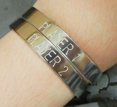 Geeky Player 1 and 2 Hand Stamped by GreatBigBagOTrinkets on Etsy