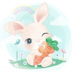 Cute bunny hanging the carrot juice Watercolor Mermaid, Butterfly Watercolor, Watercolor Animals, Mermaid Background, Feather Background, Whale Illustration, Cute Animal Illustration, Cute Animals Images, Cute Images