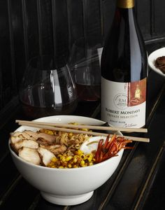 Chef Justin Warner's Tricked Out Ramen Using Robert Mondavi Private Selection Pinot Noir