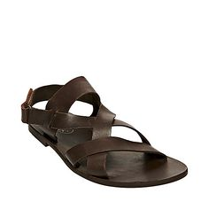 ROWMANN BROWN LEATHER men's sandal slide no sub class - Steve Madden