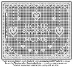 Filet Crochet Home Sweet Home Design Filet Crochet Charts, Crochet Cross, Crochet Diagram, Crochet Home, Thread Crochet, Cute Crochet, Crochet Stitches, Crochet Patterns, Cross Stitch Embroidery